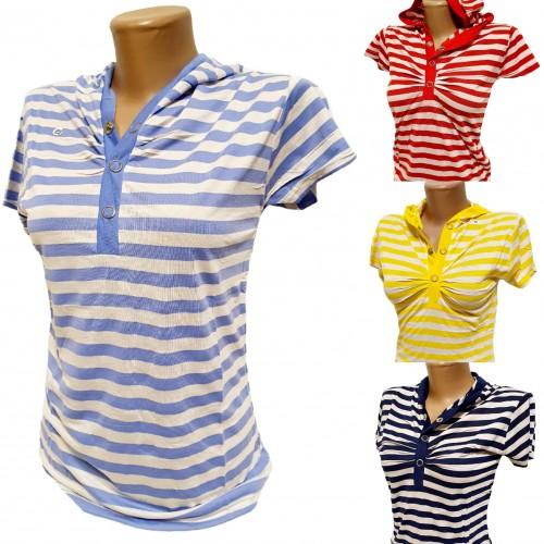Хлопковые женские футболки с капюшоном