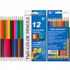 Двухсторонние карандаши 24цвета