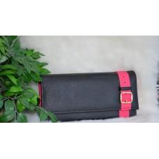 Кошелек черный с розовой окантовкой