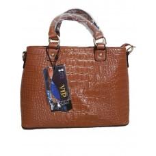 Женская коричневая сумка под кожу крокодила
