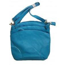 Кожаная голубая сумка