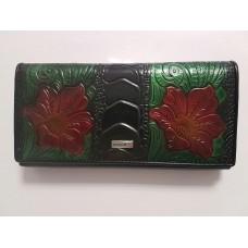 Кожаный кошелек с цветами