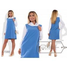 Платье-трапеция мини двухцветное
